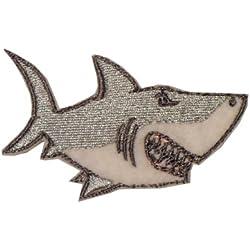 Toppa ricamata, pesce, squalo, balena, tartaruga: da cucire/stirare/appiccicare, 2 pezzi, Sew on(permanent solution), shark (size 80x50mm)