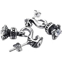 AMDXD Pendientes de la joyería del dragón del acero inoxidable de los hombres de plata