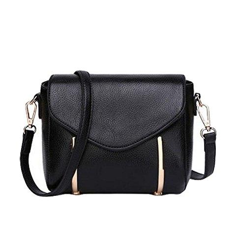 Umhängetasche Lychee Muster Leder Handtasche Umhängetasche Handtasche Black