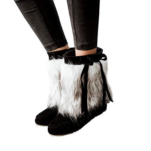 TianWlio Damen Stiefeletten Frauen Wildleder Plüsch Runde Zehe Wedges Schuhe Reine Farbe Schlüpfen Hält Warme Schneestiefel Black 37