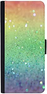 Snoogg Rainbow Crystals Graphic Snap On Hard Back Leather + Pc Flip Cover Son...