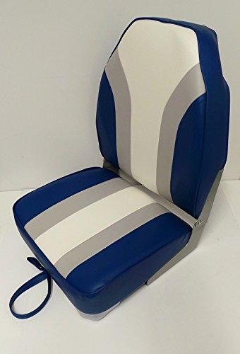Quality Folding Hi High Back Boat Helm Seat Navy / Light Grey / White - Speed Test