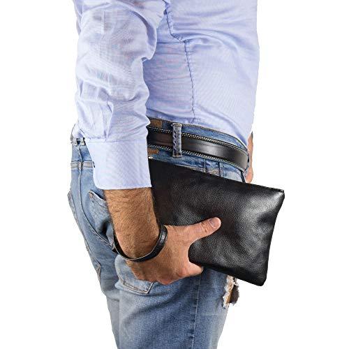 Pochette uomo da polso morbida borsa a mano piccola nera Borsello casual  Borsetta x chiavi portafoglio ... 9613a8a9822