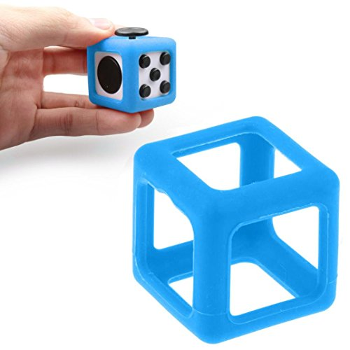 Switchali For Fidget Cube Stress Relief Focus Toy Protective Cover Case (Blue)