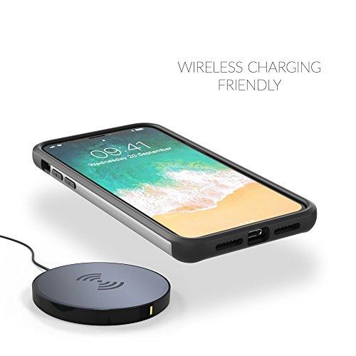 Coque iPhone X, Snugg Apple iPhone X Double Couche Case Housse Silicone [Bouclier Légère] Etui de Protection - Gris, Infinity Series GREY