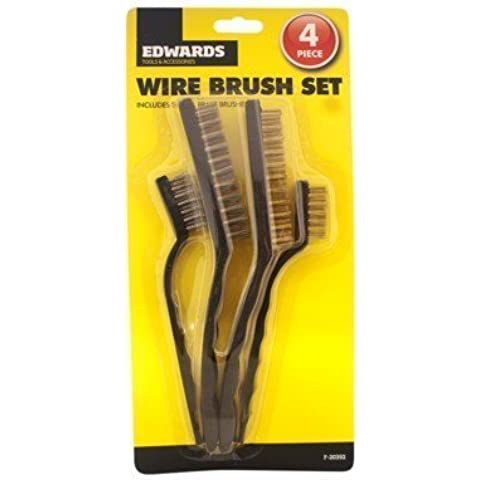 Guilty Gadgets - Wire Bristle Brushes Set of 4 Cleaning
