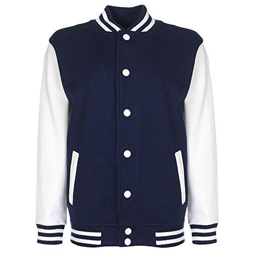 FDM Junior / Kinder Unisex College-Jacke mit kontrastfarbenen Ärmeln 7-8 Jahre,Marineblau/Weiß (Für Jungen Varsity-jacke)