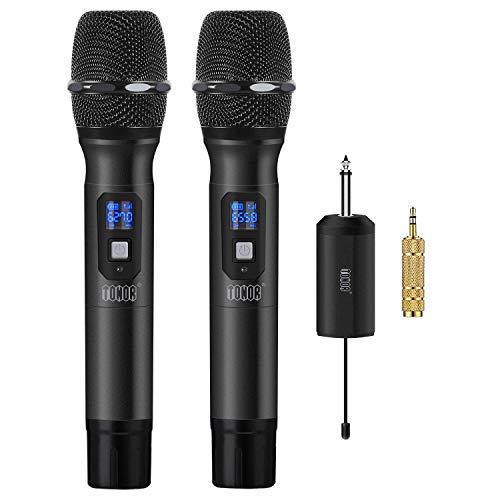TONOR Microfono Wireless Micro senza Fili a 25 Canali UHF con Mini Ricevitore Portatile con 1/4' Output, Per Chiesa/Casa/Karaoke