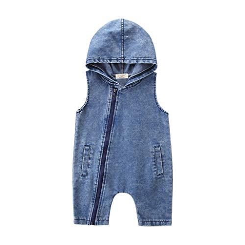 Julhold Kleinkind Kinder Baby Jungen Mode Outfits Kleidung Denim Kapuze Ärmellos Lose Denim Strampler Overall 0-4 Jahre