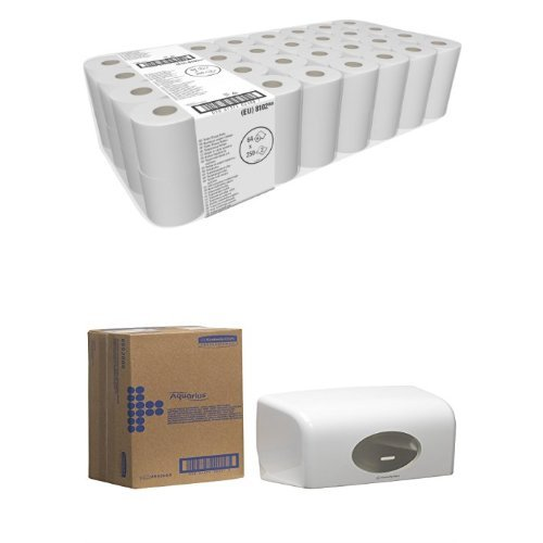 Kimberly-Clark Professional Toilet Paper 2 Ply, 8 x 8 rolls x 250 Sheets (1 Pack of 64) Plus Dispenser