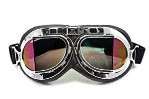 Retro Style Motorcycle Goggles Motorbike Flying Scooter Aviator Helmet Glasses Colorful Lens
