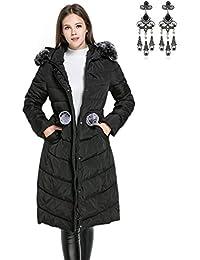CARINACOCO Mujer Abrigo Chaqueta Otoño Invierno Slim Fit Chaquetas de Plumas con Cuello de Piel Espesado Abrigo con Capucha Encapuchado
