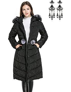 [Patrocinado]CARINACOCO Mujer Abrigo Chaqueta Otoño Invierno Slim Fit Chaquetas de Plumas con Cuello de Piel Espesado Abrigo...