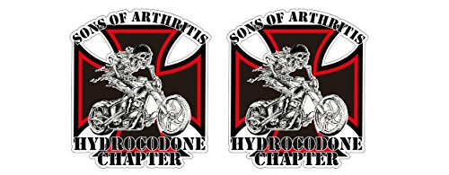 Sons of Arthritis Anarchy Hydrocodone Chapter Eisernes Kreuz Iron Cross Oldschool Biker Outlaw Motorrad Gang Rebel MC Aufkleber Sticker Decal Autocollants Pegatinas + Gratis Schlüsselringanhänger aus Kokosnuss-Schale + Auto Motorrad Laptop Notebook Koffer Skateboard Snowboard Tuning Racing Motorsport (Iron Cross Decal)