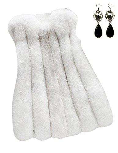 Sitengle Donna Gilet di Pelliccia Cappotto Senza Maniche Giaccha Faux Fur Lungo Cardigan Invernale Autunno Giacchetto Giubbotto Parka
