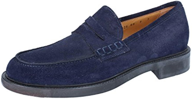 Zapatos Hombre Santoni 41 Mocasines Gamuza Azul ZW25