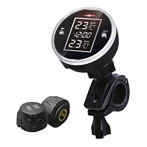 LEVEL GREAT Tragbare Universal Wireless Fahrradreifendrucksystem 2 Sensor Motorrad-Reifendruck-Detektor -