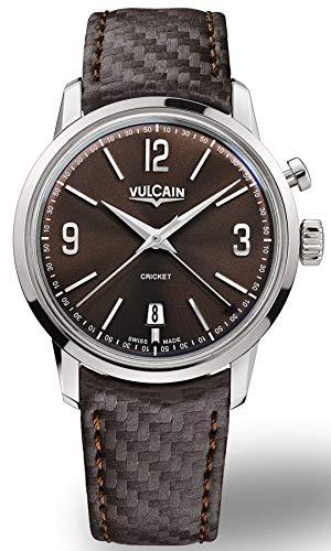 Vulcain Cricket 50s Presidents Herren Uhr analog Handaufzugwerk mit Leder Armband 110151A45.BAC131
