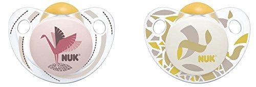 Preisvergleich Produktbild NUK 10172106 Trendline Latex-Schnuller, kiefergerechte Form, 6-18 Monate, 2 Stück, Girl, rot