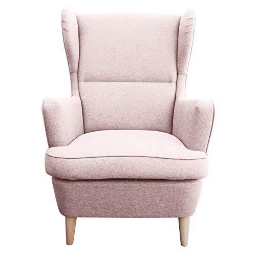 myHomery Sessel Lena Webstoff modern - Ohrensessel gepolstert - Polsterstuhl für Esszimmer & Wohnzimmer - Lounge Sessel mit Armlehne - Rosa - Wohnzimmer-moderne Sessel