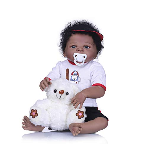 Reborn Full Body Vinyl Silicone Lifelike Reborn Baby Doll Realistic Look Baby Boy Toy Toddler Gift,Black (Silicone Doll Baby Mädchen)