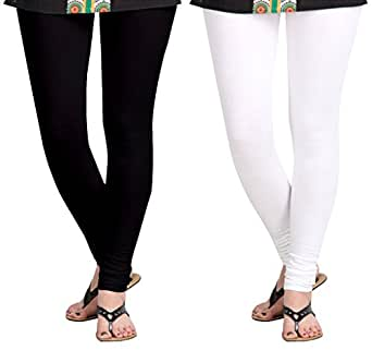 Aannie Women's Cotton Slim Fit Leggings Combo Pack of 2(X-Large,Pure Black,Pure White)
