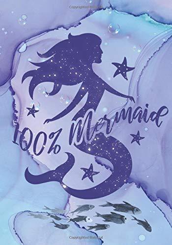 100% Mermaid: Mermaid Notebook Wide Ruled Line For Mermaid Lovers 110 Pages 7