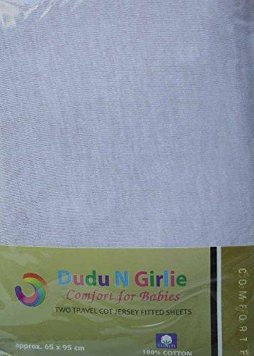 DuDu N Girlie Reisebett Baumwolle Jersey Spannbettlaken Blatt, 65x 95cm, weiß, 2Stück - Baumwolle Blatt