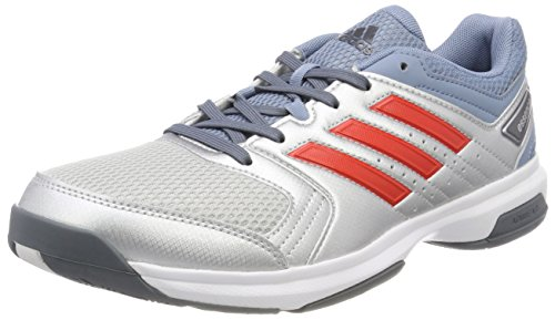 adidas Essence, Chaussures de Handball Homme Rouge (Silver Metallic/hi-res Red/raw Grey)