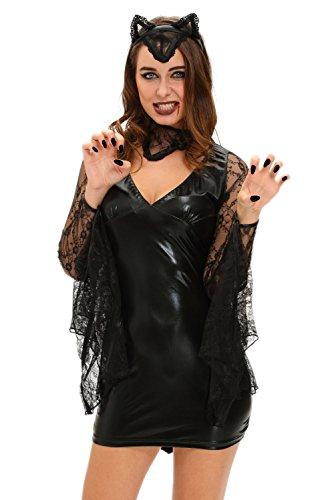 Halloween Lady Kostüm Vampir (r-dessous Damen Kostüm Fledermaus Vampir Wetlook Gothic Dark Lady Vampirin Halloween Karneval Verkleidung Groesse:)