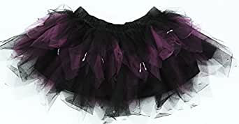 BLACK AND PURPLE PARTY TUTU SKIRT ,ADULT SIZE 8-12 ,7 LAYERS, SATIN LINING, SLIVER BEAD DROPLETS