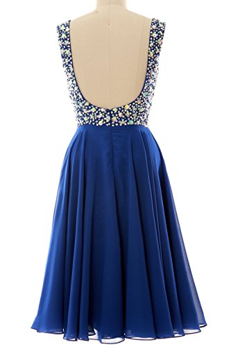MACloth Elegant Straps Cocktail Dress Chiffon Short Wedding Party Formal Gown Royal Blue