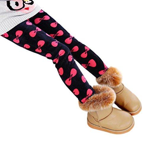 Bekleidung Longra Kinder Winter Mädchen Leggings Dicke warme elastische Taille Legging Kleidung Hosen(2-7 Jahre) (110cm 2-3Y, Red) (Hose Kleid Elastische Taille)