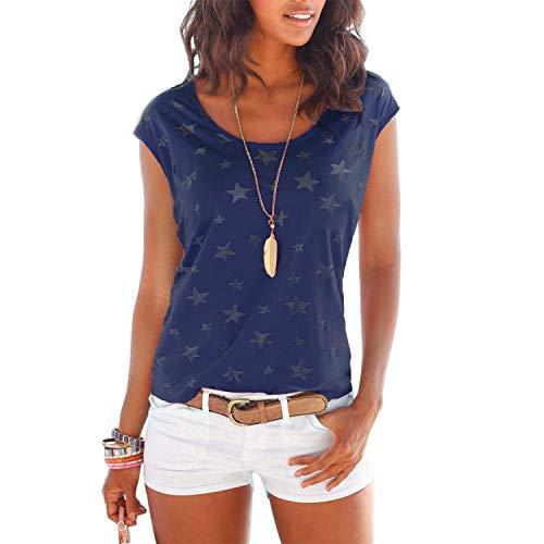 Baumwoll-spitzen-bluse (WinCret Damen T-Shirt Kurzarmshirt mit Rundhalsausschnitt Alle Sterne Druck Bluse Basic Tops)