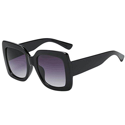 gafas de sol polarizadas Clásico Unisexo Cuerno Rimmed Años 80 Retro con marco multicolor gafas de sol unisex mujer hombre Lente gradiente vintage gafas de sol de lujo (Oversized Square Sunglasses A)