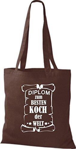 shirtstown Borsa di stoffa DIPLOM PER MIGLIOR Koch DEL MONDO Marrone