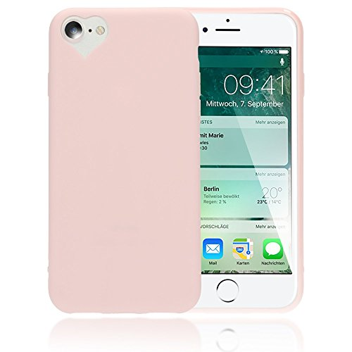 NALIA Herz Handyhülle kompatibel mit iPhone 8/7, Silikon Case Schutz-Hülle Gummihülle, Soft Slim Cover Etui Dünne Handy-Tasche, Ultra-Slim Smart-Phone Back-Cover Skin Bumper, Farbe:Rosa