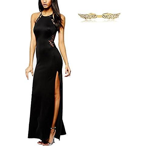 BYD Vestido para Mujeres Escotado por Detrás Vestidos Largos de Encaje Lace con Aberturas Noche