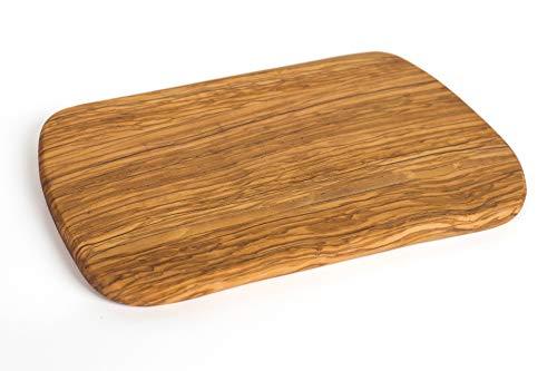 TNNature Premium Serie Olivenholz | Schneidebrett Naturform |Tranchiertbrett | Servierbrett | Antibakterielles Küchenbrett | Messerschonendes und langlebiges Holzschneidebrett | ca. 30 x 20,5 x 1,5 cm