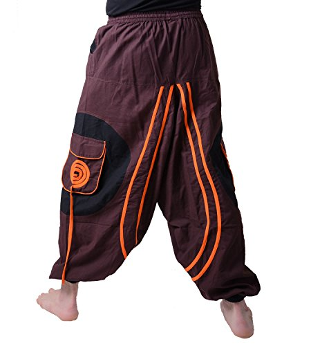Herren Hippie-Haremshose Goa mit Spiral-Patches Braun / Orange