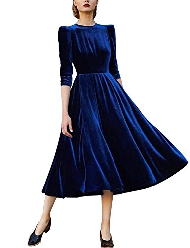 Junshan Elegant Damen Langen Ärmel Vintage Abendkleid Socialite Samt Big Swing Dress (42, Blau) (Hoch Vintage-knie Stiefel)