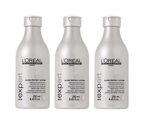 L'Oréal silver Shampooing Brillance de 3 x 250 ml serie expert Gloss Protect Système