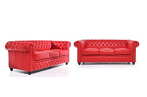 Original Chesterfield Sofas – 3 / 3 Sitzer – Vollständig Handgewaschenes Leder – Rot