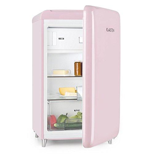 Klarstein PopArt Pink Kühl-Gefrierkombination Retro-Kühlschrank
