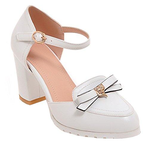 YE Damen Ankle Strap 7cm Chunky Heels Pumps mit Blockabsatz und Schleife Schnalle Rund Geschlossen süß Schuhe Weiß