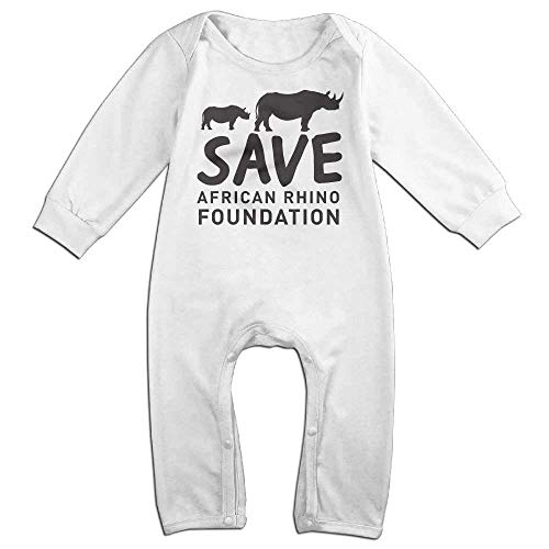 Save African Rhino Foundation Long Sleeve Baby Romper Bodysuit Outfits Clothes