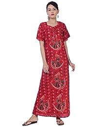261a7e0cc4 Indian Women Casual Cotton Night Gown Bikni Cover Indian Dress Long Skirt  Maxi Nightdress Red