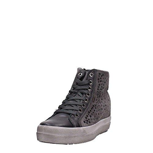 IGI & CO 67523 espadrilles grises hautes chaussures femme strass zip liens Dark Grey