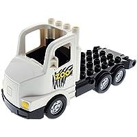 Preisvergleich für Bausteine gebraucht 1 x Lego Duplo Fahrzeug LKW weiß schwarz Zebra Streifen Zoo Tier Transporter Chassis Laster Auto Lastwagen Set Truck 6272 4653071 87700c03pb01