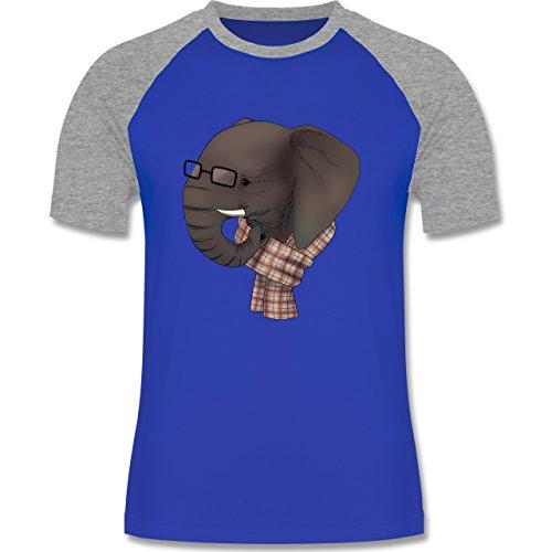 Hipster - Hipster Elefant - zweifarbiges Baseballshirt für Männer Royalblau/Grau meliert